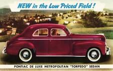 Old Print. Burgundy 1941 Pontiac De Luxe Metropolitan Torpedo Sedan Auto