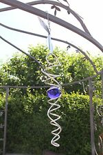 Small Silver Spiral with blue glass ball Wind Spinner garden mobile hangs 43cm