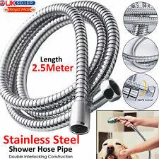 2.5m Flexible Stainless Steel Chrome Standard Shower Head Bathroom Hose Pipe UK