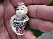Vintage Oriental Hand Painted Carved Resin Miniature Character Figurine Baby