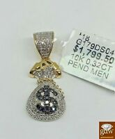 Real 10k Money Bag Charm With 0.32 CT Diamond With Black diamond In middle, New.