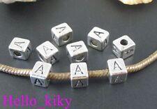 40 pcs Tibetan silver letter A cube beads A494