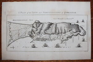 1780 A Plan of the Town & Fortification of GIBRALTAR Original Antique MAP Chart