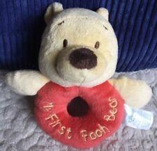 Disney Winnie Yellow Red Fleece Baby Rattle MY FIRST POOH BEAR