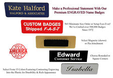 1 X 3 Custom Engraved Name Badges-Personalized Employee ID Tag w/ Pin or Magnet