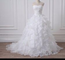 UK Plus Size White/Ivory Sweetheart Organza Ruffles Wedding Dress Size UK 6-26