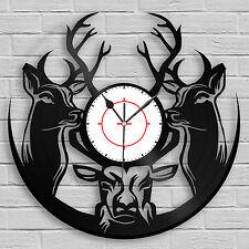 Woodland Deer Hunter Clock, Hunting Gift Antlers Art Wilderness Wall Decor Buck