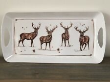41cm White Melamine Winter Stag Handled Serving Tray Country Kitchen Home Decor
