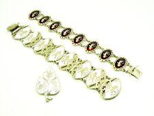 Siam Silver & Enamel Bracelets (2 of) and Brooch, Dancing Figures