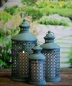 Set of 3 Green  Savona Metal Garden Or  Indoor Lanterns Vintage Moroccan Style