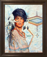 Native American Indian Maiden Wall Decor Art Print Brown Rust Framed Picture