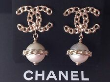 CHANEL 2016 2017 TOP GOLD CHAIN CC PEARL DANGLE DRESS EARRINGS NEW GORGEOUS