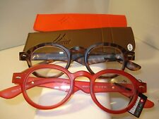 2 PAIR AUTH MONTANA VINTAGE ROUND READING GLASSES READERS TORTOISE & RED 1.50