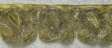 GOLD SEQUIN EMBROIDERED TRIM/RIBBON - SOLD PER METRE - 7.5CM'S WIDE