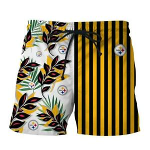Pittsburgh Steelers Mens Shorts Summer Casual Beach Swim Trunks US Size S-5XL