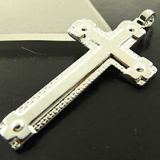 A298 GENUINE REAL 18CT WHITE G/F GOLD MENS LADIES JESUS CRUSIFIX CROSS PENDANT