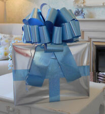 """MEGA BIG CAR BOW (16"""") for Cars, Large Birthday & XMAS Gifts - HOLOGRAPHIC BLUE"""