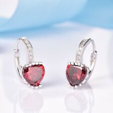 Womens Chic Red Heart Garnet Gemstone White Gold Filled Leverback Hoop Earrings
