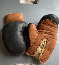 Tiny Vintage Globe Leather Boxing Gloves Antique Sports Box Childs Boys A7 Rocky