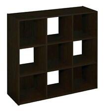 Cubby Stackable Storage Organizer Shelf Display Rack Wood Brown 9 Cube Cubicle..
