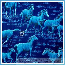 BonEful Fabric Cotton Quilt Blue Night Sky Scenic L Horse Running Ranch FQ SCRAP