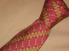 HERMES TIE 7077 OA Gold Horse Chain Yellow Green Red on Red Field Silk Necktie