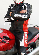 New Leather Suit Biker Outfit Two Piece Men's Black Red S M L XL 48 50 52 54