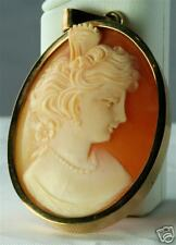 Gold Cameo Pendant Italy Vintage Very Heavy Large 14K
