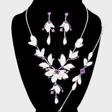 BRIDAL/PROM 3 PIECES SILVER / PURPLE  STATEMENT NECKLACE  & EARRING SET e 5&7