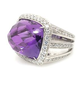 31.00 ct High Dome Faceted Amethyst and Diamond Ring in Platinum  - HM1449B6