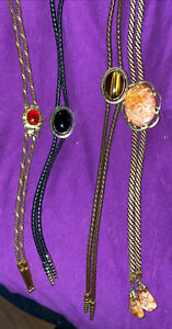 Lot Of 4 Vintage Stone Bolo Ties