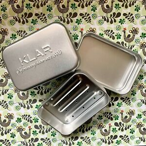 Klar Seifendose aus Aluminium,für Seife,Soap,3-teilig mit Tropfschale