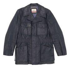 Vintage CRESCO Leather Jacket M Medium Mens DARK BLUE Overcoat Trench CAR COAT