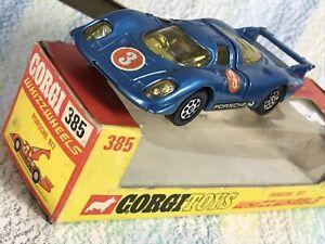 Corgi Toys #385 Porsche 917 VNMint in VGBox metallic blue racing number 3