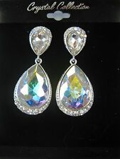 Silver Iridescent Aurora Borealis Rhinestone Crystal Dangle Earrings # 5896AB