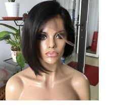 Lainey's layered lace front Brazilian Human Hair bob pixie blunt bang Wig