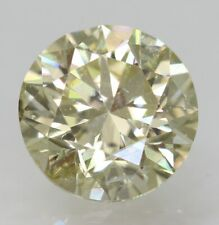 Cert 0.90 Carat Fancy Yellow VS2 Round Brilliant Natural Loose Diamond 6.01mm
