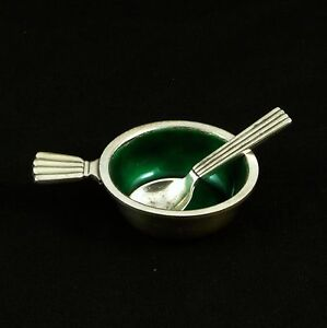 Georg Jensen Silver Salt Cellar with green Enamel and Spoon #9 - Bernadotte