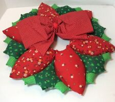 Vintage Handmade Christmas Cloth Fabric Poinsettia Wreath Red Green Patchwork