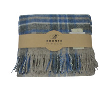 Bronte by Moon Check Grey & Blue Throw British Made