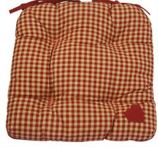 Chair Seat Pad Cushion Rustic Red Gingham Heart Tie On NEW (I)