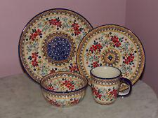 Genuine Handmade UNIKAT Polish Pottery 16 PC Dinnerware Set!  Rembrandt Pattern!
