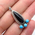 Running Bear Shop Old Pawn Sterling Silver Turquoise & Black Onyx Tribal Pendant