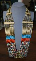 FAB WORLD TRAVELER ESTATE HAND BEADED AFRICAN 20-STRAND COLORFUL TRIBAL NECKLACE