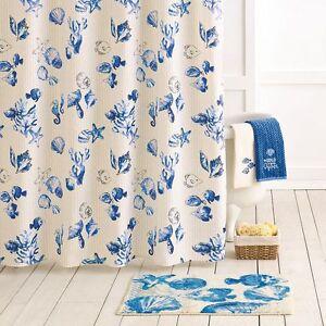 Sonoma Seabrook Blue & Beige Ocean Beach Sea Shells Fabric Shower Curtain NEW