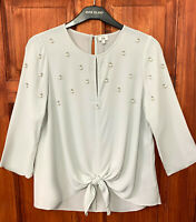 River Island New Womens Grey Cluster Embellished Tie Front Top Blouse Sizes 6-18