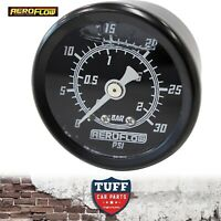 "Aeroflow Black 0 - 30 PSI Liquid Filled Carb Fuel or Oil Pressure Gauge 1/8"" NPT"