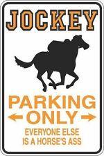 """*Aluminum* Jockey Parking Only Horse's Ass 8""""x12"""" Metal Novelty Sign  S311"""
