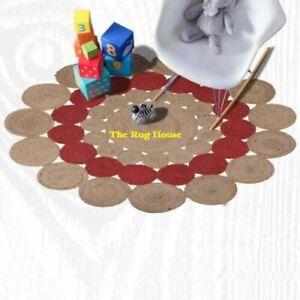 Rug 100% Natural Jute Reversible Round Area Floor Carpet Living Room Rag Rugs