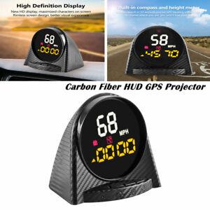 GPS HUD Head-up Display Projector Voltage Speed Water Temp Meter Carbon Fiber